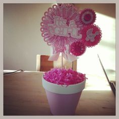 Rosette baby shower centerpieces by CuteCreationShop1 on Etsy, $25.00