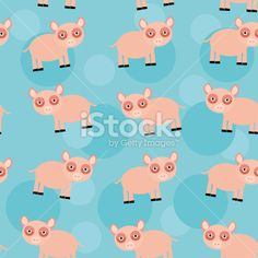 Seamless pattern with funny cute animal pig on blue background Royalty Free Stock Vector Art Illustration