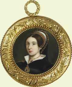 Katherine Howard, 18th Century Minature based on Holbein's Painting of Elizabeth Seymour    This is a much later portrait miniature that uses the Holbein image now thought to be Elizabeth Seymour, sister of Queen Jane Seymoour--although that reidentification is now being disputed. This may indeed be Katherine after all.