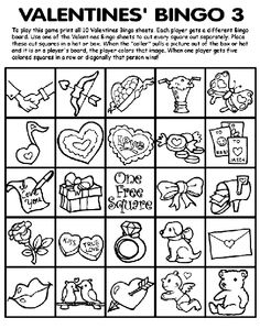 Print Valentine\'s Bingo sheets from Crayola for a great Valentine\'s ...