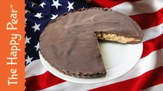 Today we bring to you, our recipe for a giant dairy, gluten and refined sugar free, peanut butter cup! In honour of American Independance we decided to creat. Happy Pear Recipes, Sweet Recipes, Whole Food Recipes, Family Recipes, Paleo Dessert, Healthy Dessert Recipes, Baking Recipes, Vegan Desserts, Dessert Animals
