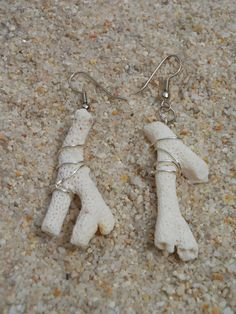 mystery island coral EARRiNGS- white coral earrings- dangle earrings- beach jewelry- island earrings on Etsy, $10.00