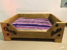 Personalised Raised Wooden Dog Bed Bespoke Rustic  . Handmade to order in our workshop
