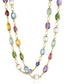 "J8946 Verdura Fulco Mixed Semiprecious Stone Necklace, 39"""