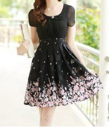 Elegant Women's Peter Pan Collar Short Sleeve Floral Print Chiffon Dress