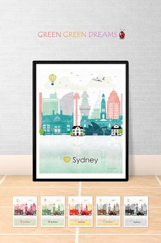 Sydney print poster Wall art Sydney skyline Sydney Australia NSW City poster Printable download Home Decor Digital Print GreenGreenDreams
