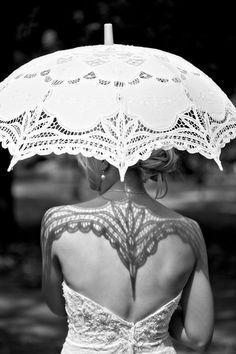 tattoo ideas, dress, shadow, umbrella, white lace, a tattoo, bride, black, outdoor weddings