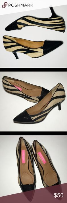 Isaac Mizrahi NY Jabria kitten heel pump zebra Adorable kitten heel pumps from Isaac Mizrahi New York! Calf hair zebra animal print with a patent leather dark brown toe.  Excellent condition. No noticeable scuffs or scratches.  These shoes are the perfect mix of neutral and fun!  Let me know if you have any questions 🦓🖤 Isaac Mizrahi Shoes Heels