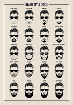 """beard style guide poster"""" Poster by beakraus Redbubble f beard styles - Beard Goatee Styles, Beard Styles For Men, Hair And Beard Styles, Facial Hair Styles, Short Beard Styles, Beard And Mustache Styles, Beard No Mustache, Mens Hairstyles With Beard, Haircuts For Men"""