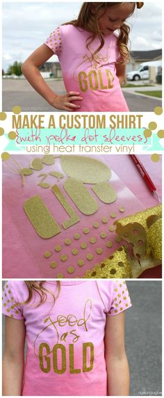 transfer Vinyl shirt with GOLD glitter polka dots diy a custom shirt with polka dot using heat transfer vinyl from expressions vinyldiy a custom shirt with polka dot using heat transfer vinyl from expressions vinyl Glitter Shirt, Glitter Vinyl, Gold Glitter, Glitter Party, Vinyl Craft Projects, Vinyl Crafts, Vinyl Shirts, Custom Shirts, Custom Vinyl