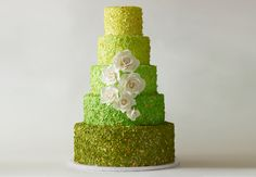 Ombre dotted green wedding cake // Photo: Philip Ficks // http://blog.theknot.com/2013/09/25/10-amazing-new-wedding-cake-ideas/