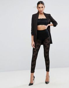 #ASOS - #ASOS ASOS All Over Lace Leggings with Scallop Hem - Black - AdoreWe.com
