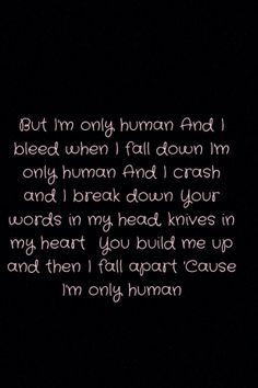 Human by Christina Perri my new favorite song because it's absolutely true because it reminds yourself and others that you are only human and you can only take so much before you break down.