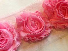 Spitzenborte - Spitze ROSA Rosen (75mm) ab 1Meter - ein Designerstück von Pearls-and-more bei DaWanda