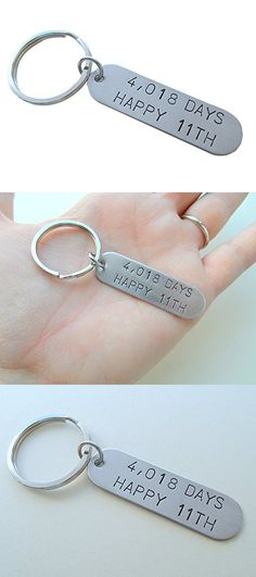 """Stainless Steel Tag Keychain Stamped with """"4,018 Days Happy 11th""""; Hand Stamped 11 Year Anniversary Couples Keychain"""