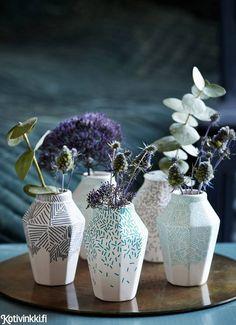 Posliinitussilla koristellut maljakot | Kotivinkki