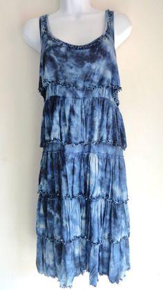 INC International Concepts Tie Dye Blue Tiered Sequin Dress Cocktail Large L #INCInternationalConcepts #Sundress
