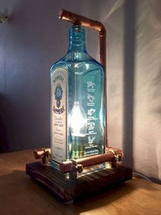 Steampunk Copper Bottle Lamp Table Lamp Bombay Sapphire Vintage Retro LED Gift Box - All For House İdeas Diy Bottle Lamp, Bottle Art, Bottle Crafts, Lighted Wine Bottles, Bottle Lights, Empty Bottles, Lampe Steampunk, Bombay Sapphire, Blue Sapphire