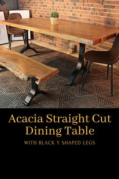 Acacia Straight Cut Dining Table With Black Y Shaped Legs/Natural Color - Wazo Furniture Wood Tables, Natural Colors, Acacia Wood, Straight Cut, Minimalist Design, Modern Rustic, Wood Grain, Matte Black, Natural Wood