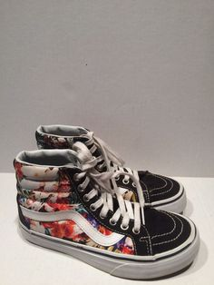 VANS UNISEX FLORAL PATTERN HI TOP SHOES MEN 3.5 WO 5 EU 34.5 #VANS #SKATEBOARDING