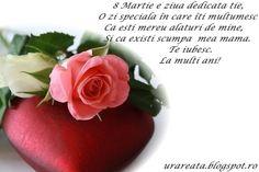 felicitare 8 martie pentru mama7 8 Martie, Birthday Cards, Happy Birthday, Fruit, Floral, Bday Cards, Happy Brithday, Urari La Multi Ani, Flowers