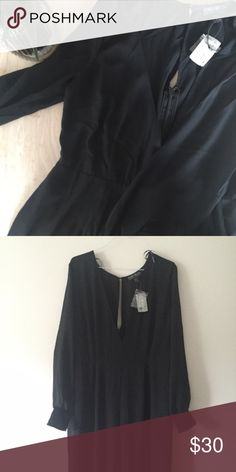 Jumpsuit Black jumpsuit, never worn. Low cut c-neck front and cut out back. Sheer sleeves and wide pant. Forever 21 Pants Jumpsuits & Rompers