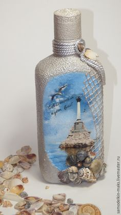Need our Ponce Inlet lighthouse photo here Glass Bottle Crafts, Wine Bottle Art, Diy Bottle, Bottle Box, Decoupage Glass, Decoupage Art, Jar Art, Altered Bottles, Painted Wine Glasses