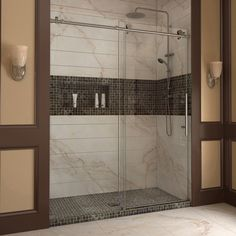 """DreamLine SHDR-61607610-07 Enigma-X 56 to 60"""" Sliding Shower Door, Clear 3/8"""" Glass, Stainless Steel Finish"""