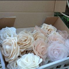 "Dolecka on Instagram: ""Yesterday I cut and starched all my petals ready to make some of my individual silk roses for a headpiece. Did you know we use recycled…"""