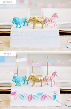 DIY Royal Safari Baby Shower Centerpiece