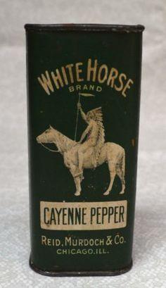 WHITE-HORSE-Spice-Tin-Cayenne-Pepper-w-Contents-Reid-Murdoch-Co-RARE