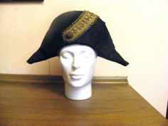 Vintage Napoleon style bicorn antique hat Ede  amp  Ravenscroft black silk  gold lame  Fashion c697ea61df7