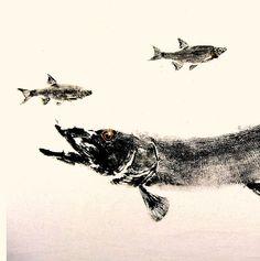 Chain Pickerel GYOTAKU Fish Art Original on premium by fishfanatic