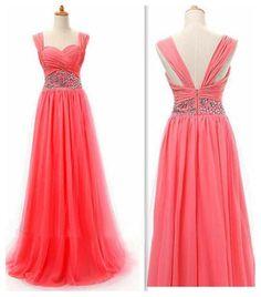 Sheath/Column Red Spaghetti Strap Chiffon Beaded Zipper Floor Length Dress Wedding Dress Prom Dress Evening Gown Bridesmaid Gown