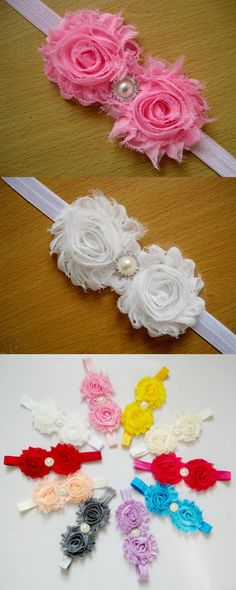 Freeshipping 12pcs/lot Fashion Double Shabby Flowers Baby Headbands Pearl Elastic Ribbon Hair Accessories for Infant Kids