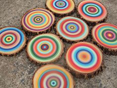 Painted Tree Rings Abstract Art Wood Slice by NestsAndBurrows