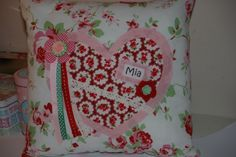 Floral heart cushion, can be personalised with any name or phrase.