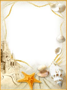 Photo-Frame-Sand-Castle.png (959×1280) I like the shells and the sand, but the sandcastle and huge shells and starfish at the bottom are a bit much.