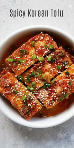 Spicy Korean Tofu - quick and easy Korean braised tofu with chili powder, garlic, soy sauce, sugar and sesame oil. This Korean side dish (banchan) is healthy and delicious. Healthy Korean Recipes, Veggie Recipes, Asian Recipes, Cooking Recipes, Asian Desserts, Healthy Food, Vegetarian Korean Food, Spicy Vegetarian Recipes, Healthy Heart