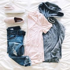 """d e b   sunsets and stilettos on Instagram: """"This raw hem tee is one of my favorites right now. Maybe because it's $17? This hoodie is also the softest thing going. And these sneakers…"""""""
