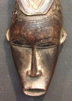 African Mask Hand Carved Wood Baule Mask Ivory Coast Handmade Female Mask Carved Wood Figure
