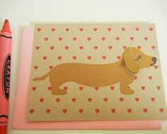 Valentine BBQ the Dachshund Valentine's Day Heart Print by Cuore, $4.00