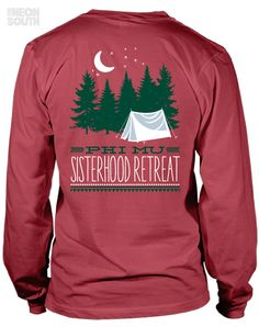 Fresh New Designs!! Visit our site to get your customized order started. Phi Mu | Sisterhood Retreat | camper | The Great Outdoors | New Members | Sorority Shirts | Sorority Tees | Sorority Tanks | Greek Tees | Greek Tanks | Sorority Shirt Ideas | Greek Shirts