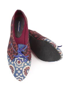 Buy Red Ecru Blue Ajrakh Cotton Satin Shoes Accessories Footwear Urbane Imprints Printed Apparel and Online at Jaypore.com