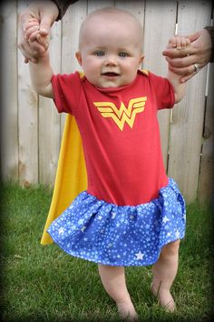 Wonder Woman Baby Bodysuit with Built-in Cape and Skirt