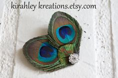Mini CYNDEL  Peacock Hair Clip Headpiece with by KirahleyKreations, $18.00
