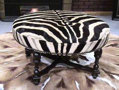 round zebra ottoman Cowhide Decor, Cowhide Furniture, Cowhide Ottoman, Ottoman Stool, Furniture Decor, Zebra Bedding, Unique Home Decor, Decorative Accessories, New Homes