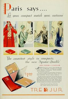 "1929 ad from ""Photoplay"" magazine. Let your compact match your costume! *vintage leavers*"