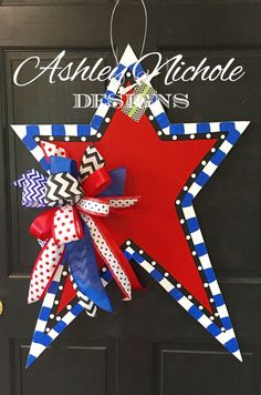 Funky Star with Red Center Door Hanger, Door Decoration, July 4 Decoration, Memorial Day DecorationLarge Large means of great size. Large may also refer to: Memorial Day Decorations, 4th Of July Decorations, Birthday Decorations, Painted Doors, Wooden Doors, Painted Signs, Burlap Door Hangers, Wooden Cutouts, July Crafts