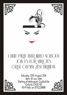 10 x Personalised Birthday Evening Invitations or Thank you Cards Great Gatsby Vintage Art Deco: Amazon.co.uk: Office Products